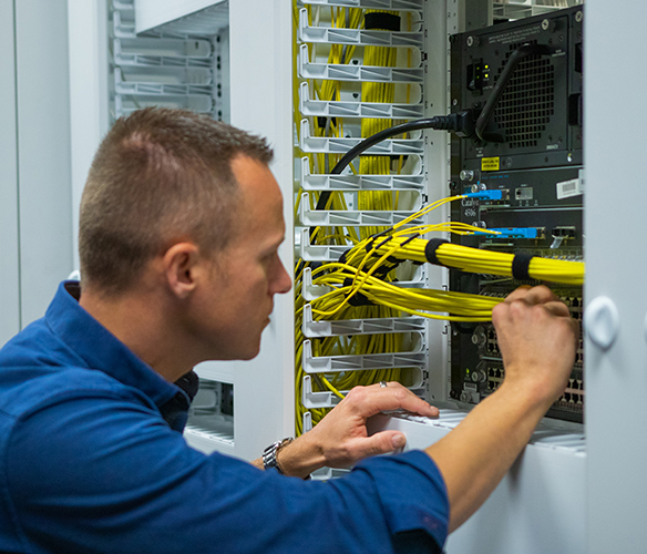 IT Professional adjusting Network Cables
