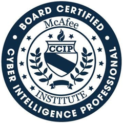 McAfee Board Certified Cyber Intelligence Professional Logo